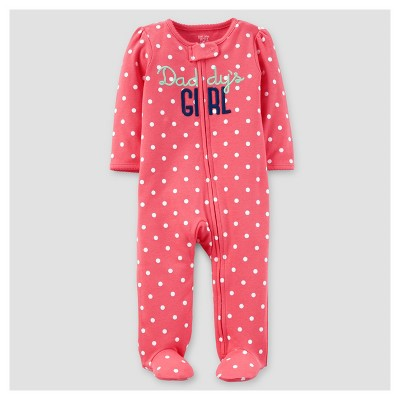 Baby Girls' Daddy's Girl Cotton Sleep N' Play - Just One You™ Made by Carter's® Pink Dot 3M