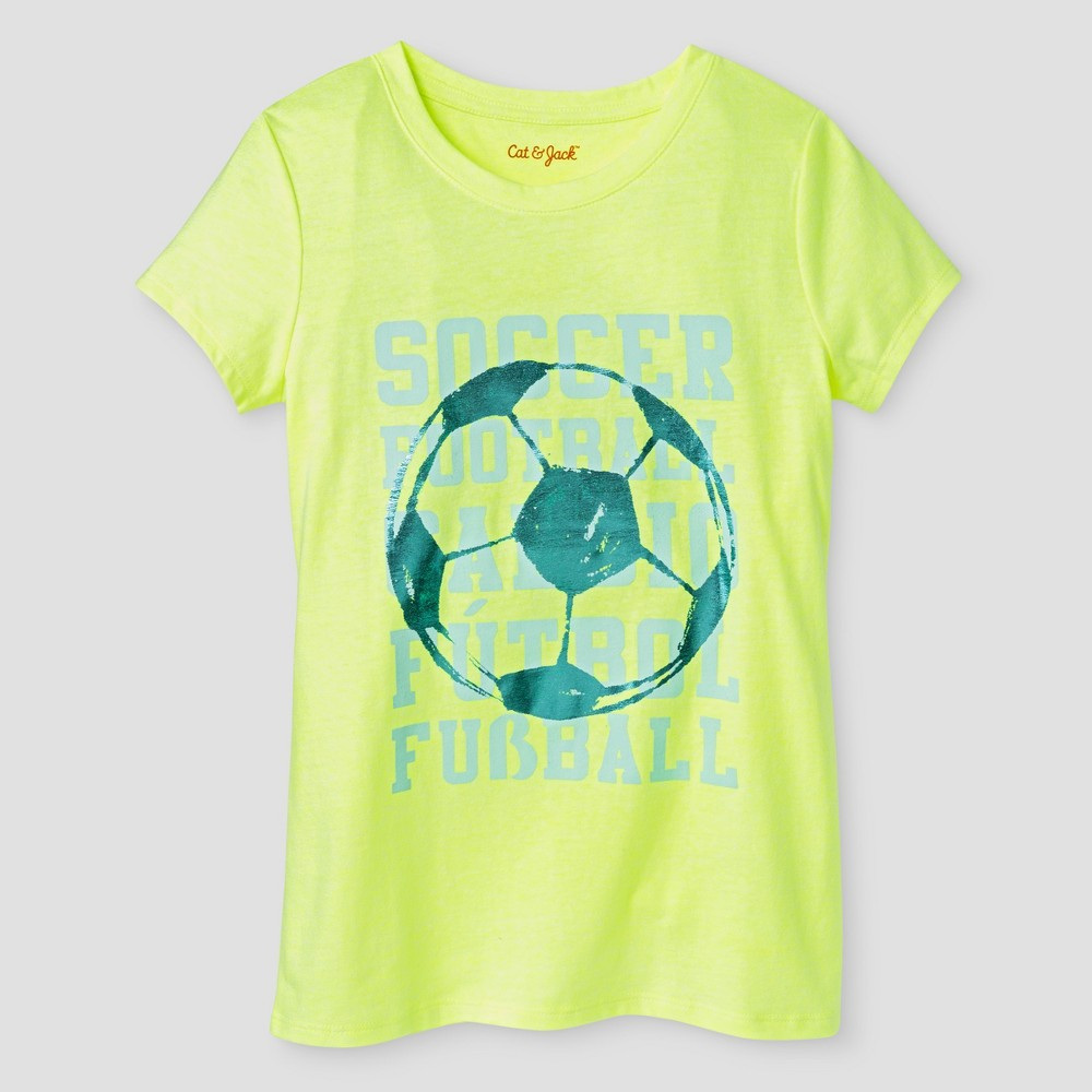 Girls' Soccer Graphic Tee - Cat & Jack Superb Yellow L