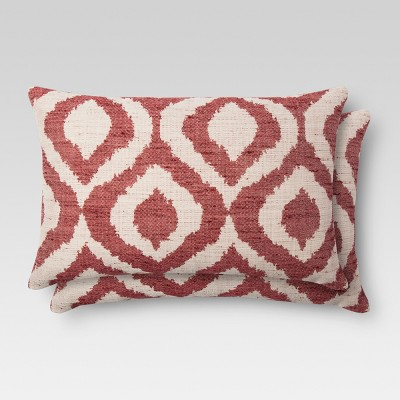 2pk Red Ikat Throw Pillow 12 x18  - Threshold™