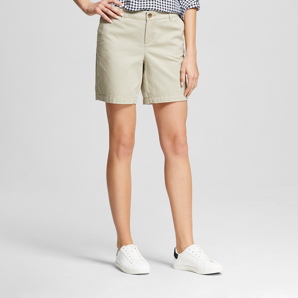 Womens 7 Chino Shorts Vintage Khaki 14 -Merona