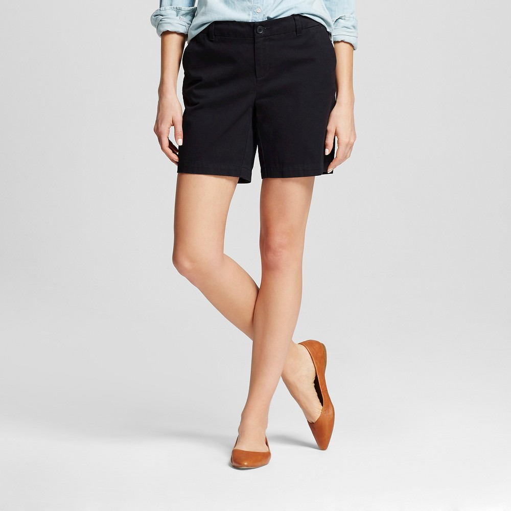 Womens 7 Chino Shorts Black 16 -Merona