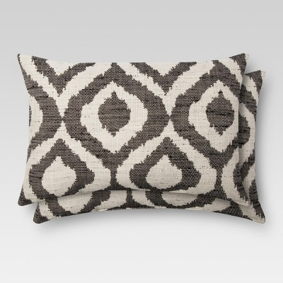 2pk Onyx Ikat Throw Pillow 12 x18  - Threshold™