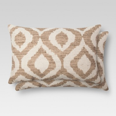 2pk Tan Ikat Throw Pillow (12 x18 )- Threshold™