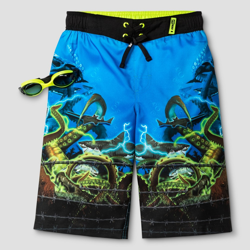 Boys Shark Boardshort Deep Aqua S - R-Way by ZeroXposur, Blue