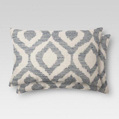 2pk Blue Ikat Throw Pillow (12 x18 )- Threshold™