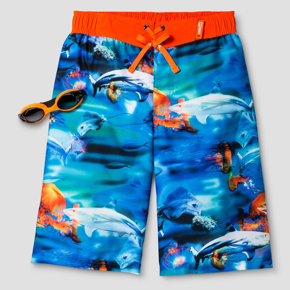 Boys Fish Boardshort Deep Aqua S - R-Way by ZeroXposur, Blue
