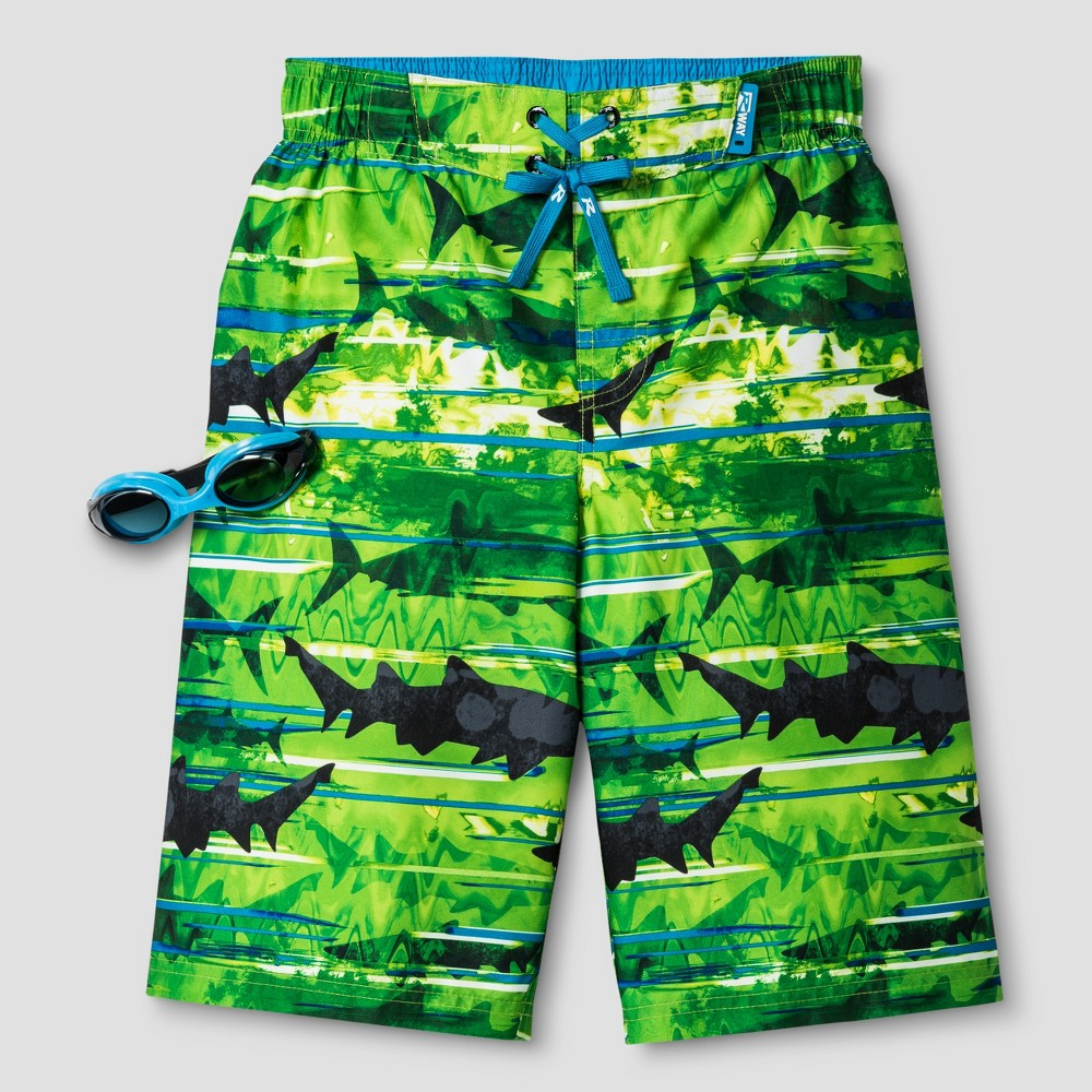 R-Way by ZeroXposur Boys Shark Boardshort Algae Green XL