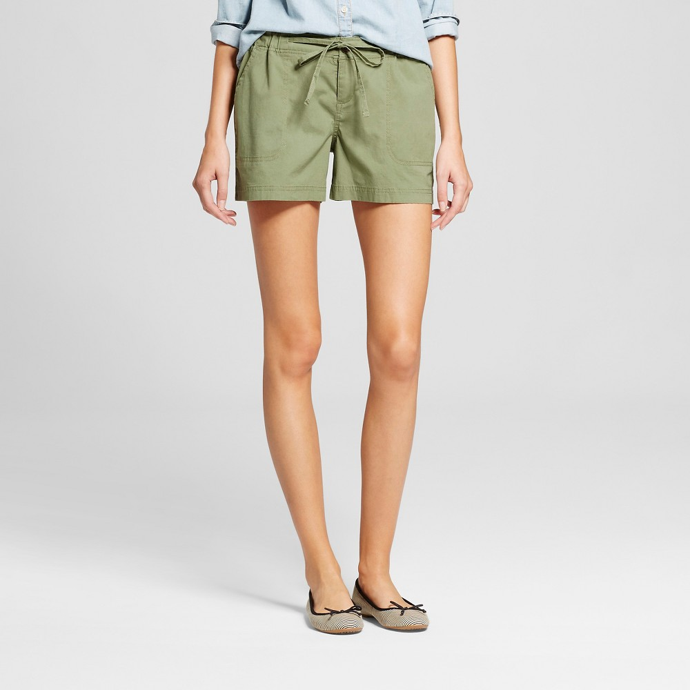 Womens 4 Easy Waist Shorts Green M - Merona