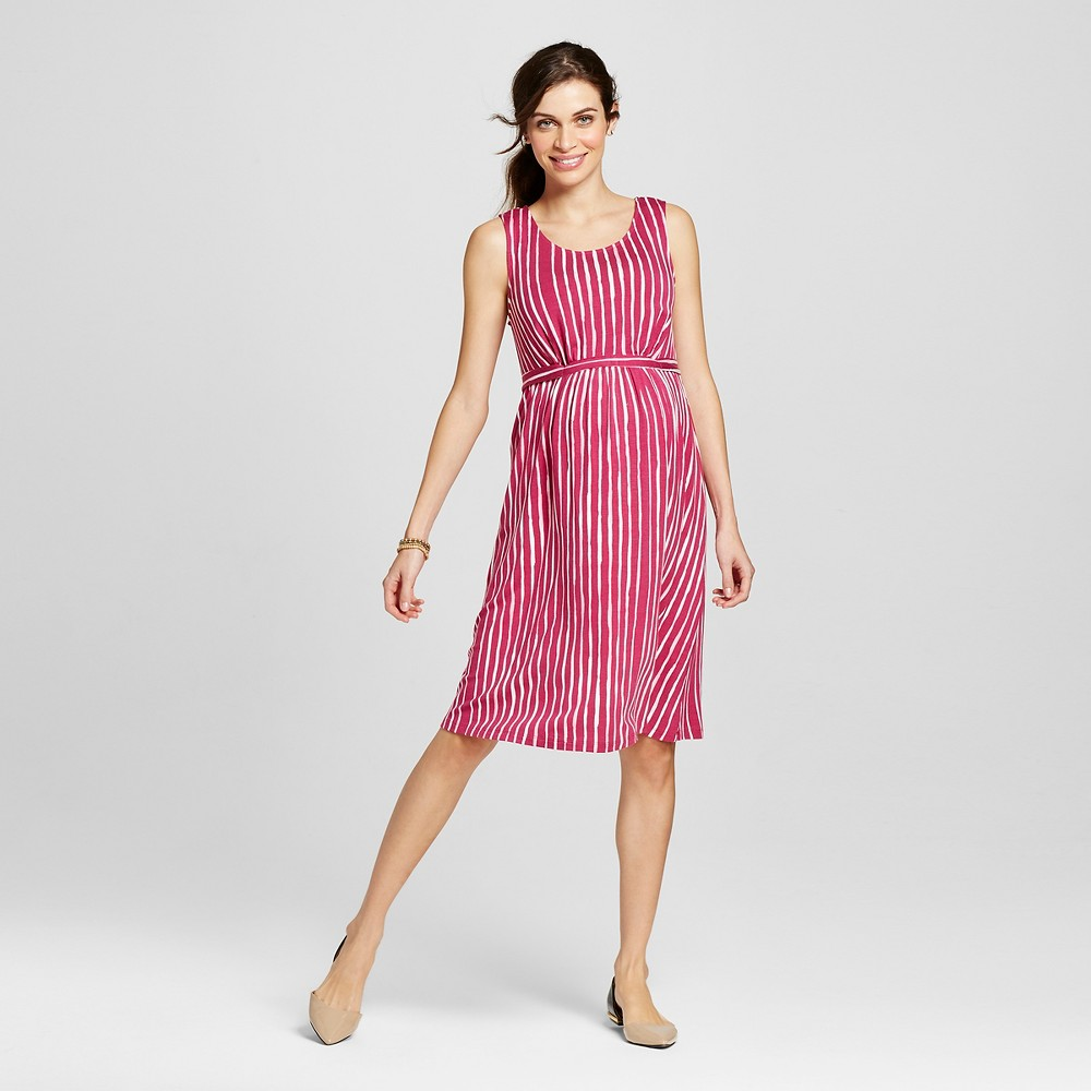Maternity Tie-Waist Striped Dress Fuchsia Red Xxl – Liz Lange for Target, Women's, Fuschia Red