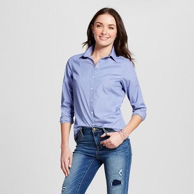 Women's Collared Button Down Shirt Uniform Blue XS -Merona™ : Target
