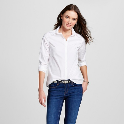 Women's Collared Button Down Shirt Fresh White XXL -Merona™ : Target
