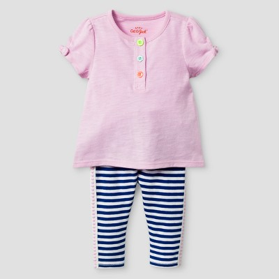 Baby Girls' 2-Piece Henley Top and Leggings Set Cat & Jack™ Peppermint Stick/Stripe 12 Months