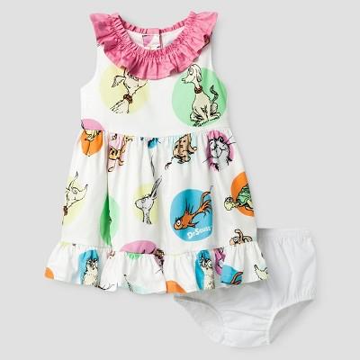 Baby Girls' Dr. Seuss A Line Dress - White