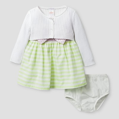 Baby Girls' Cardigan and Block Dress - Cat & Jack™ White/Stripe 6-9 Months