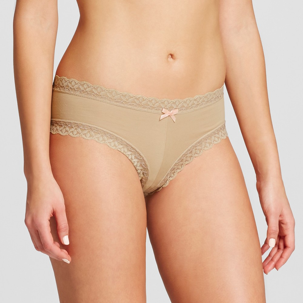 Womens Cotton and Lace Bikini - Honey Beige M