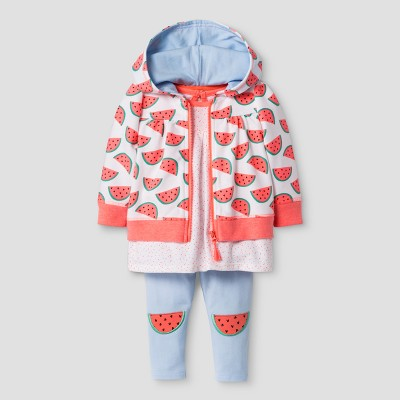 Baby Girls' 3-Piece Hoodie, Tunic, and Leggings Set Cat & Jack™ Watermelon/Whimsical Blue 3-6 Months