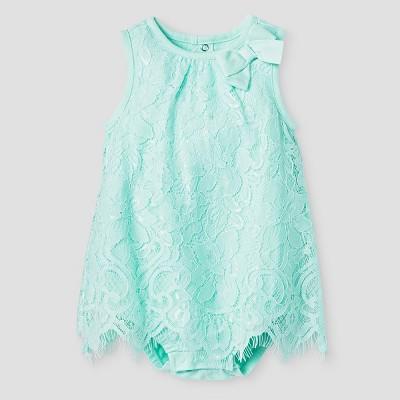 Baby Girls' Lace Romper Cat & Jack™ - Aqua 6-9 Months