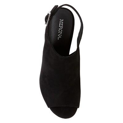Women's Bria Peep Toe Heeled Sandals Merona - Black 6.5
