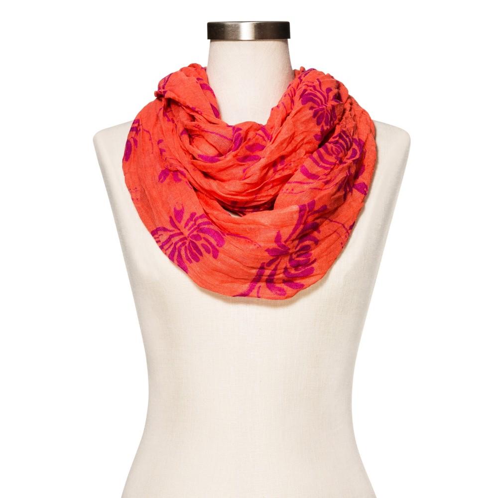 Womens Orange Floral Fashion Scarf - Merona, Orange Pop
