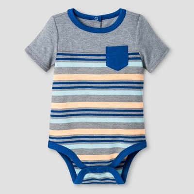 Baby Boys' Striped Bodysuit Cat & Jack™ - Gray 3-6 Months