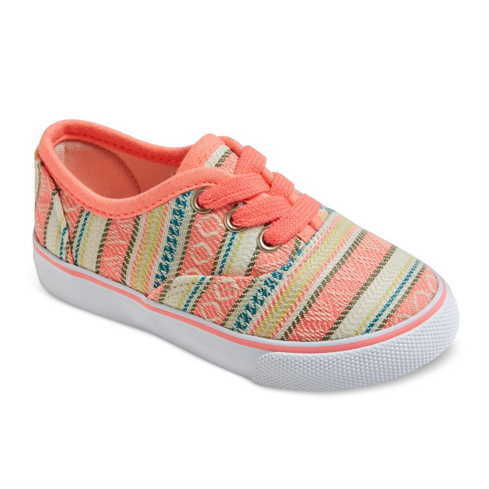 Toddler Girls Mel Tribal Print Lace Up Canvas Sneakers Cat & Jack - Coral (Pink) 11