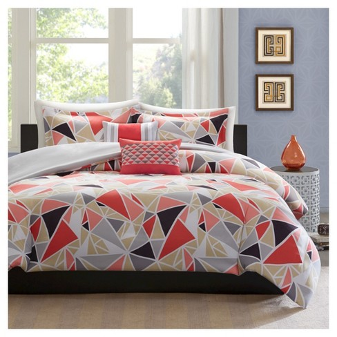 Jasmine Geometric Duvet Cover Set Pink
