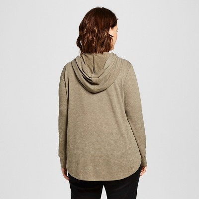Women's Plus Size Hamsa Hand Brushed Pullover Hoodie Olive Green 2X - Modern Lux (Juniors')