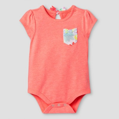 Baby Girls' Back Pocket Bodysuit - Cat & Jack™ Coral NB