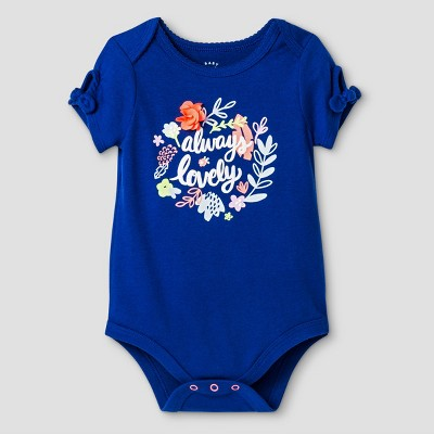 Baby Girls' Always Lovely Bodysuit - Cat & Jack Bodysuit™ Blue 6-9 Months