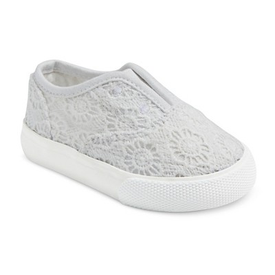 Girls' Genuine Kids® Amber Lace-less Canvas Sneakers - White 3