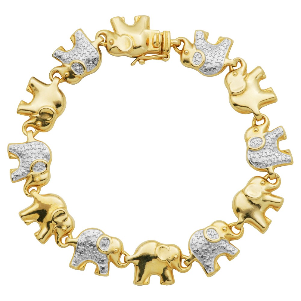 Yellow Gold and Fine Silver Plated 2-tone Bronze Diamond Accent Elephant Bracelet, 7.25, Womens