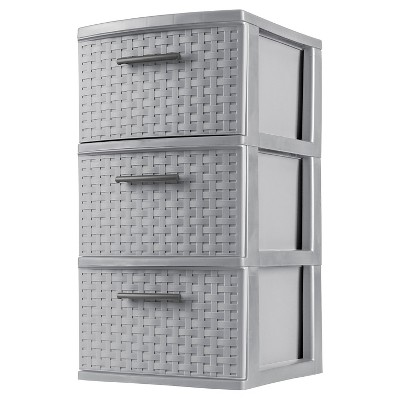 Sterilite 3 Drawer Medium Weave Tower - Gray