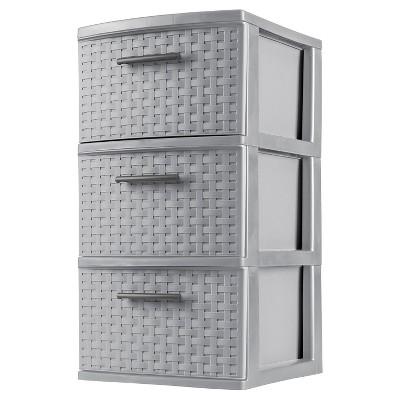 sterilite 3 drawer medium weave tower gray