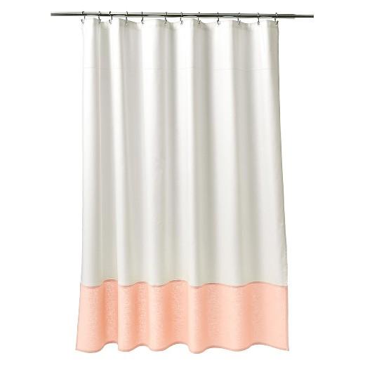 Oxford Stitch Shower Curtain White Peach Fieldcrest