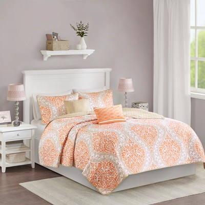 Chelsea Quilted Coverlet Set (King/California King)5pc - Orange