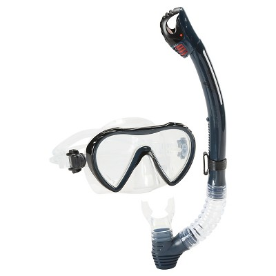 Speedo Adult Expedition Snorkel Set Combo Navy Blue - 2pc