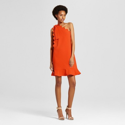 Women's Orange One Shoulder Dress with Bow and Scallop Trim - Victoria Beckham for Target
