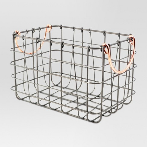 Wire Basket Antique Pewter - Threshold™ - image 1 of 2
