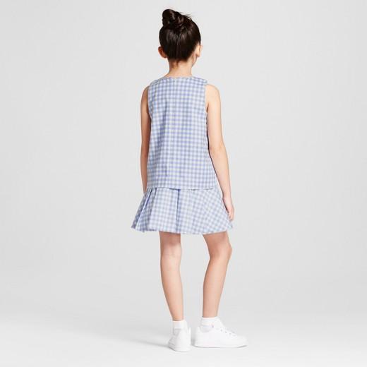 Girls' Light Blue Gingham Twill Drop Waist Dress - Victoria ...