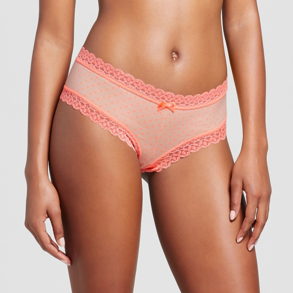 Womens Cotton with Lace Cheeky Hipster - Peach Divine Dot M