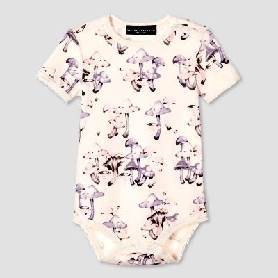 Baby Mushroom Print Short Sleeve Bodysuit 9M - Victoria Beckham for Target
