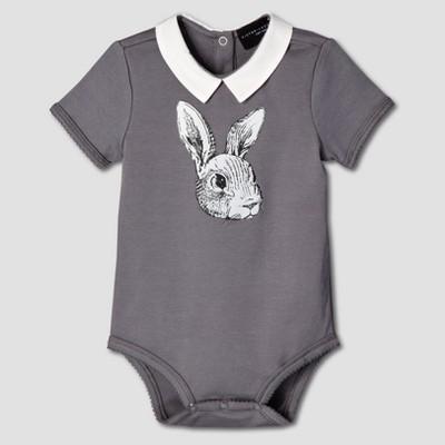 Baby Dark Gray Bunny Collared Bodysuit 3M - Victoria Beckham for Target