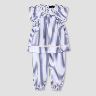 Baby Blue Stripe Poplin Tank Top and Capri Pants Set 9M - Victoria Beckham for Target