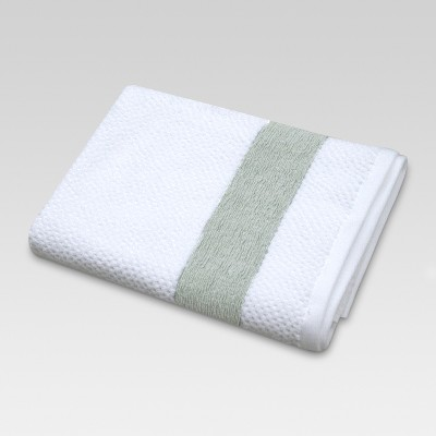 Inset Border Bath Towels White/Green - Threshold™
