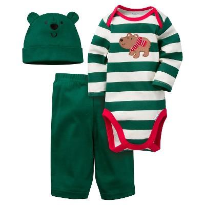Baby Boys' 3 Piece Long Sleeve Bodysuit, Pant and Cap Set Green Bear 0-3M - Gerber®