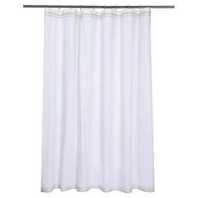 Ribbon Border Shower Curtain White/Beige - (72 x72 )- Fieldcrest™