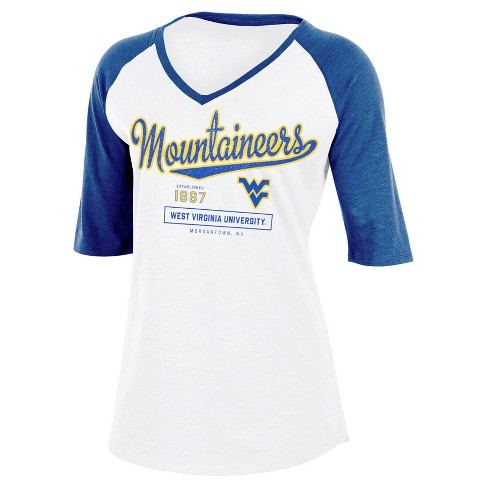 NCAA West Virginia Mountaineers Women's Fashion V-Neck Raglan T-Shirt - image 1 of 1