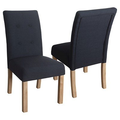 Kristin Tufted Dining Chair (Set of 2)- Blue Graphite - HomePop