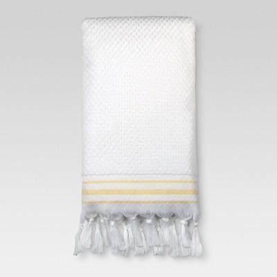 Bath Towel Oscar Border - White/Yellow - (27 x52 )- Threshold™