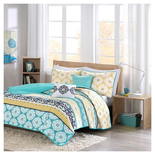 aneesa global print quilted coverlet set teal yellow target. Black Bedroom Furniture Sets. Home Design Ideas